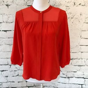 Madewell Collarless Button Down Silk Blouse Size S